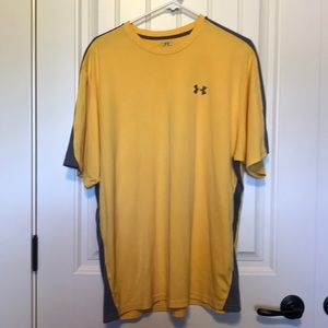 Yellow under armor tee shirt.